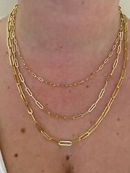 14k Gold Over Solid 925 Sterling Silver Paperclip Rolo Chain 2.5mm- 4mm Necklace $42.89