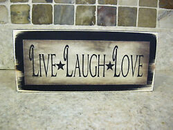Live Laugh Love Primitive Rustic Wooden Sign Shelf Sitter or Wall Plaque $7.94