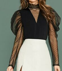 Stand Collar Puff Sleeve Long Sleeve Contrast Mesh Polka Dot Elegant Blouse Top $34.99