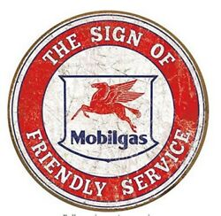MOBILGAS AND OIL ROUND TIN SIGN FRIENDLY SERVICE RUSTIC METAL GAS STATION $13.52
