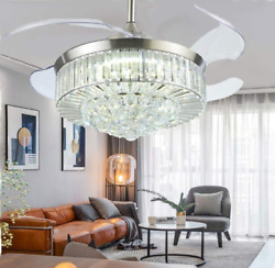 42quot;Retractable Ceiling Fan w LED Light Remote Invisible Blade Crystal Chandelier $199.63