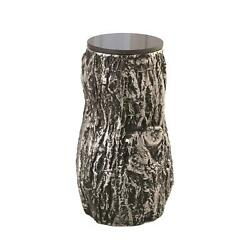 Contemporary Rustic Tree Trunk Accent Table Cast Metal Black Silver Texture Bark $947.50