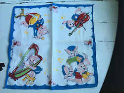 Vintage Novelty Animals and Instruments Children's Handkerchief $7.00