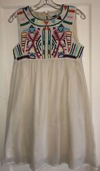Anthropologie Gryphon Multi Colored Embroidered Cotton Boho Dress Medium $40.00