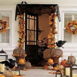 Hallowmas Black Lace lamp Shade Spider Web Bat Window Toppers Door Home Decor LP $13.01