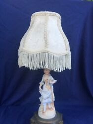 Vintage Figurine Lamp Bisque Ornate Base Fringe Shade French Victorian Style $75.00