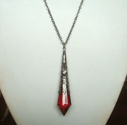 Victorian Gothic Red Pendulum Teardrop Black Filigree Pendant 30quot; Necklace