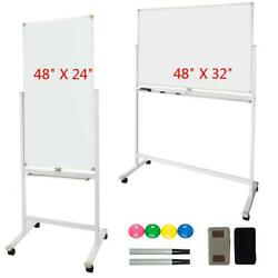 Dry Erase Board Stand Magnetic Sided Whiteboard 360°Rolling Wheels High Quality $92.49