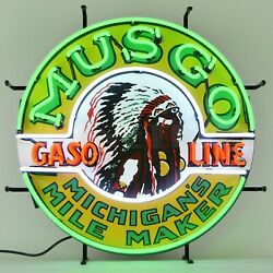 Real Neon Sign Musgo Indian Gasoline gas and motor oil globe pump wall lamp $298.66