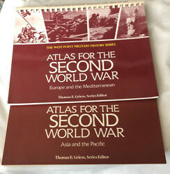 ATLAS FOR SECOND WORLD WAR: EUROPE AND PACIFIC 2 BOOKS By Tom Griess Free S H $11.99