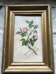 Victorian Oil Painting Roses w Trompe l#x27;oeil Pinned Calling Card Artist Coy $99.99