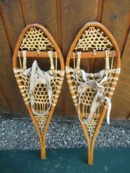 VINTAGE SNOWSHOES 33quot; Long x 10quot; Wide GROS LOUIS Leather Bindings READY TO USE $59.29
