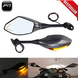 Motorcycle Carbon LED Integrated Turn Signal Light Rearview Mirror For Yamaha US