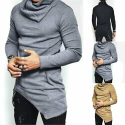 Stylish Men#x27;s Slim Fit Irregular Long Sleeve Muscle Tee T shirt Tops Blouse $14.79