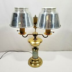 Antique 1930's1940's Two-Tone Brass Double Light Bulb Electric Office Desk Lamp $89.95