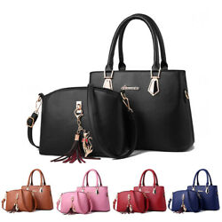 2set Women#x27;s PU Leather Handbag Shoulder Large Capacity Tote Purse Messenger Bag $20.99