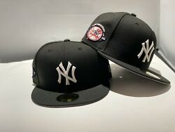 New York Yankees Black Cap White Logo 100th Anniversary Patch New Era Fitted $39.99
