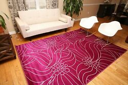 RUGS AREA RUGS CARPETS 7x10 RUG LARGE FLOOR MODERN BEDROOM FLORAL PURPLE RUGS $129.00