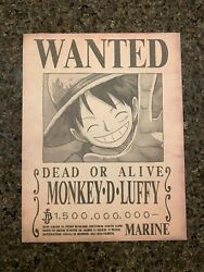 One Piece Luffy Wanted Poster HIGH QUALITY 1.5Bil Wano Bounty Anime Manga Print $5.99