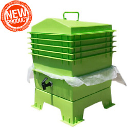 VERMICULTURE KIT 🌱 5 TRAY COMPOSTING BIN WORM FACTORY NATURE VERMICOMPOST HUT $117.12