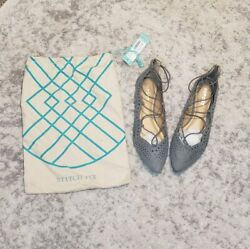Stitch Fix Report Baha Laser-Cut Strappy Flat Light Gray Women's Size 10 Pointed $19.99
