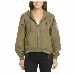 DKNY Ladies#x27; Cropped Hooded Windbreaker Juniper Size Small with defect $17.99
