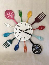 Contemporary Kitchen utensil clock colorful metal Works Great $14.89