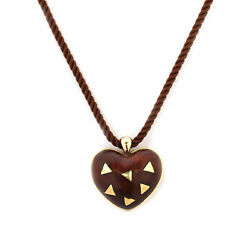 Van Cleef & Arpels Vintage 18k Yellow Gold Puffed Wood Heart Cord Necklace