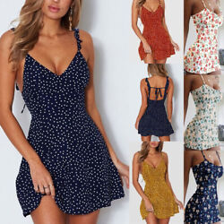 Women#x27;s Boho Floral Summer V Neck Party Evening Beach Short Mini Dress Sundress $11.69