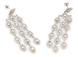 Estate 18K White Gold Fancy 8.5ct Diamond Chandelier Earrings