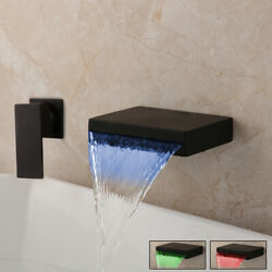 2 PCS Bathroom LED Wall Mounted Waterfall Spout Mixer Taps Single Level Faucet $59.00