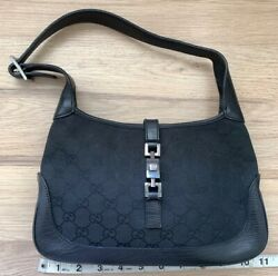 Authentic GUCCI GG Pattern BLACK Jackie Shoulder Bag Canvas Leather Preowned $500.00