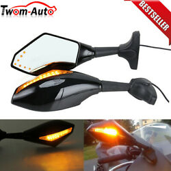 Motorcycle LED Turn Signal Integrated Indicator Lights Rear View Side Mirrors US