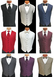 Men#x27;s Herringbone Fullback Tuxedo Vest amp; Tie Red Black White Purple Grey Silver $7.99