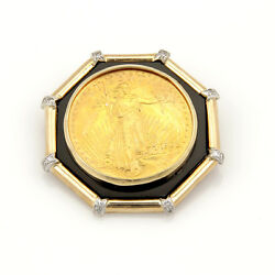 Estate 14K and 22K Yellow Gold Liberty Coin Slider Pendant with Onyx