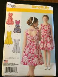 Simplicity Pattern 1382 Girls Girls Plus Dresses w Back Detail Variations $2.75