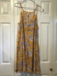 Xhilaration Beach Dress Cover Up Yellow Floral Size L NEW $15.00