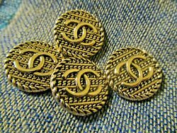 CHANEL BUTTONS lot of 4 GOLD  18mm metal with  cc logo  $60.95