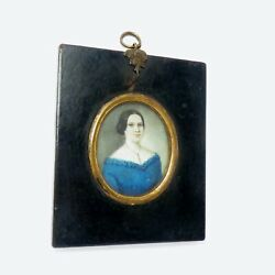Miniature Portrait Painting Antique Biedermeier Lady Wood Frame. $350.00