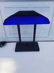 Vintage 1980s Memphis Style Desk Bankers Lamp with Blue Glass Shade $249.99