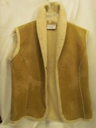 Robert Kitchen Canada Womens Medium TAN Sherpa Lined Vest Jacket $13.19