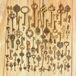 69pcs set Antique Vintage Old Look Bronze Skeleton Keys Fancy Heart Bow Pendan $11.99