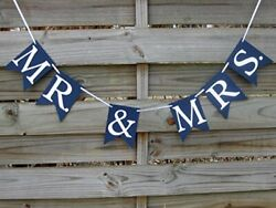 Mr. amp; Mrs. banner in Navy Blue and White Wedding Decoration and Photo Prop $3.99