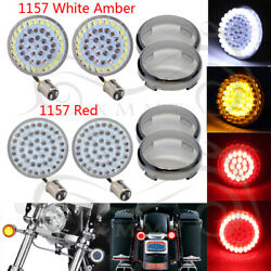 1157 White Amber Red LED Turn Signal Light Inserts With Lens Cover For Harley US $27.98