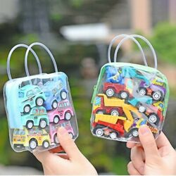 6Pcs Kids Children Baby Mini Truck Vehicle Pull Back Car Toys Gifts With Bags $8.54