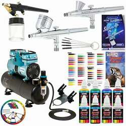3 Master Airbrush 1 4hp Twin Piston Air Compressor 6 Color Acrylic Paint Set $269.96