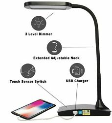 TW Lighting IVY 40WT The IVY LED Desk Lamp with USB Port3Way Touch Switch BLACK $19.57