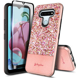For LG Stylo 6 Case Glitter Bling Phone Cover Tempered Glass Protector $9.99