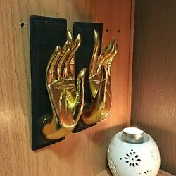 Vintage Home Decor Hand Gold Sculpture Wall Hanging Figure Wood Art Hand Carved $37.95