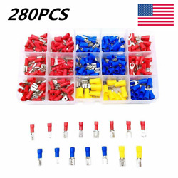 280Pcs Female Male Crimp Spade Insulated Assorted 2.8-6.3mm Terminal Electrical $11.59